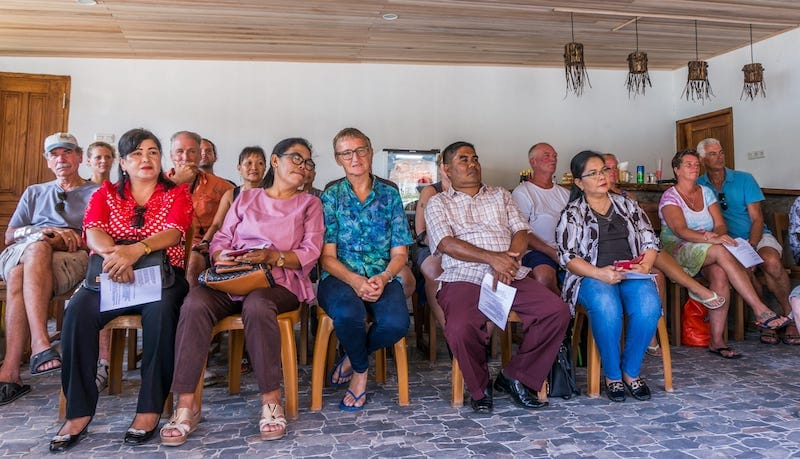 Village heads and Thalassa guests along with Simone at Lembeh's soft opening on October 1st.