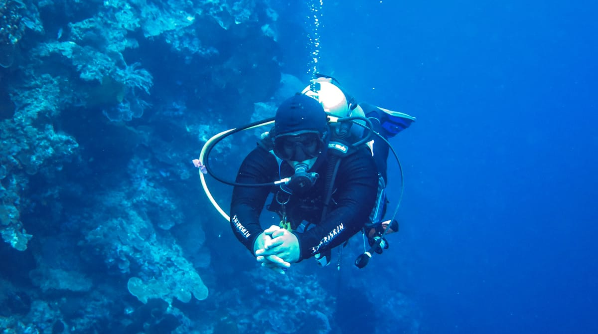 Diver practicing buoyancy.