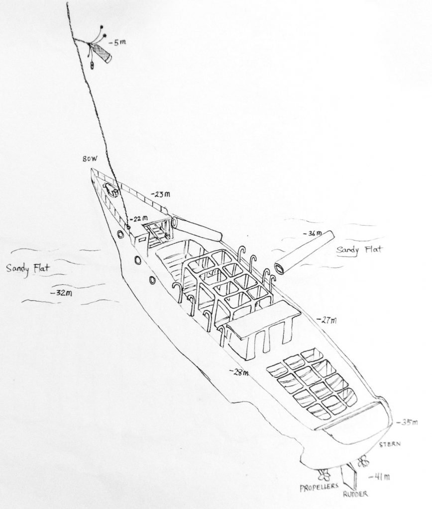 Drawing of Molas Shipwreck by Sachiko — wreck diving North Sulawesi