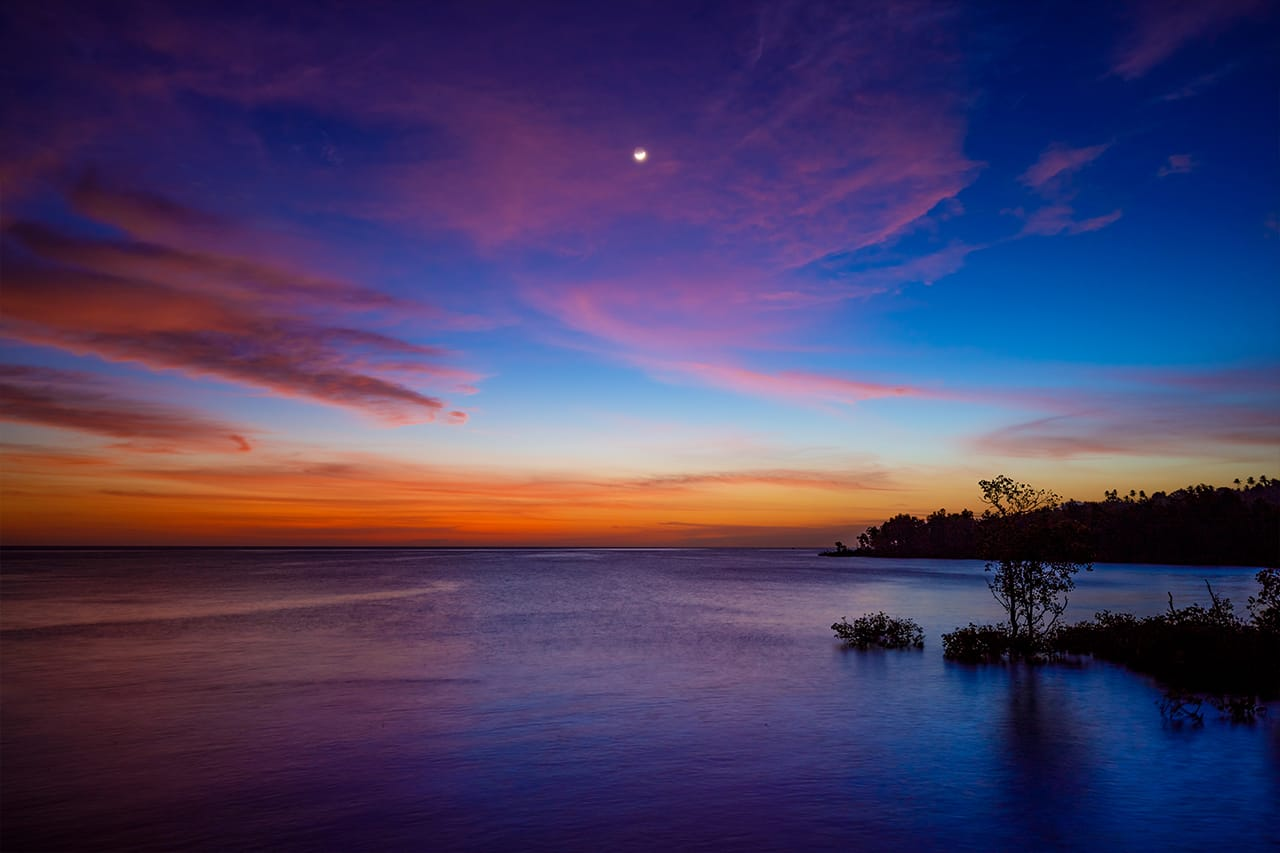 Sunset with vivid colors in Manado
