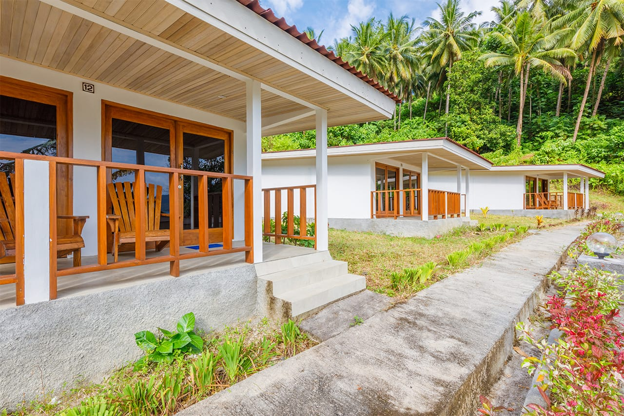 Front exteriors of bungalows at Thalassa Dive Resort Lembeh, North Sulawesi
